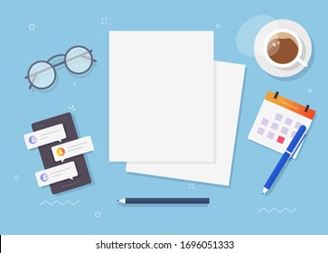 Blank empty paper sheet document for copy space text on workplace table desk top view or blank pages flat lay desktop illustration, concept of education or learning workspace
