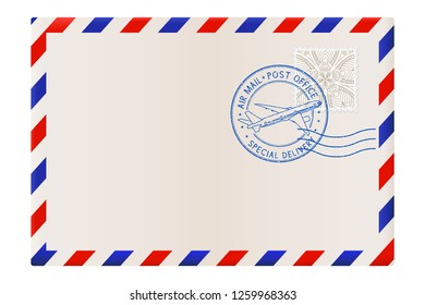 Blank envelope with air mail postmark. Illustration isolated on white background. Raster version