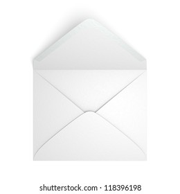 A blank envelope on white background. Computer generated image with clipping path.