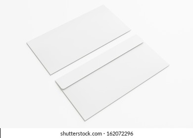 Blank envelopes  isolated on white with soft shadows. Front and back side.