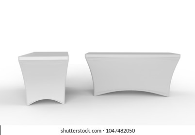 Blank Exhibition advertising table cloth used Dining Spandex Table Cover. 3d render illustration.