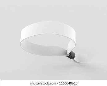 Blank fabric wristband for mock up design. 3d render illustration