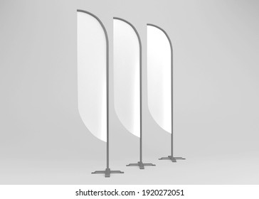Blank feather flag. Stander Advertising Banner Shield. Isolated Illustration on soft color Background. 3D rendering Mockup Template Ready For Your Design. Product Advertising.