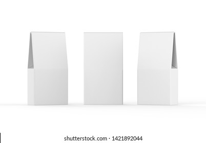 Blank Foil Or Paper Food or Household Chemicals Bag Packaging isolated on white background, 3d illustration.