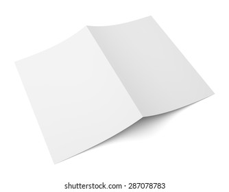 Blank folded flyer, booklet, postcard, business card or brochure mockup template isolated on white background