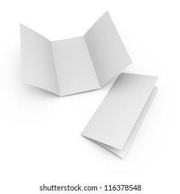 blank folded paper leaflet or flier mock up in DL size