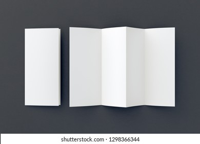 Blank folded paper leaflet on black background. Eight pages, four panel. 3d illustration