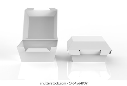 blank food box packaging for burger,lunch fast food sandwich product package on white background. 3d illustration