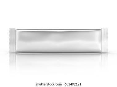 Blank food package mockup, one silver bag template for snacks, sugar or instant coffee in 3d rendering, horizontal view