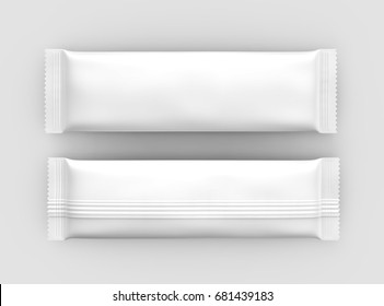 Blank food package mockup, two white bags template for snacks, sugar or instant coffee in 3d rendering, top view