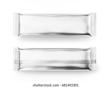 Blank food package mockup, two silver bags template for snacks, sugar or instant coffee in 3d rendering, top view