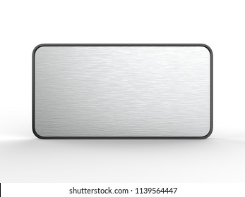 Blank frame Door and Wall Signage or name plate with brushed metal plate. 3d render illustration.