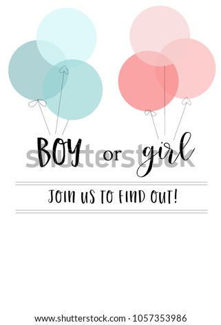 Blank Gender Reveal Invitation Template With Pink And Blue Balloons