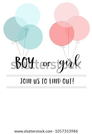 Blank Gender Reveal Invitation Template Pink Stock Illustration