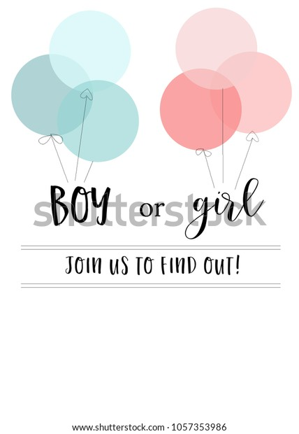 Blank Gender Reveal Invitation Template Pink Stock Illustration
