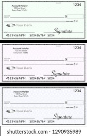 Blank generic bank checks, three of them in different colors are isolated on the background. This is an illustration.