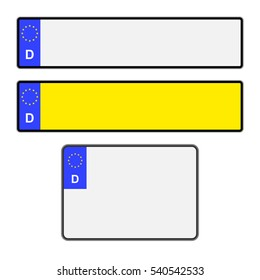 Blank German vehicle licence plates in different styles