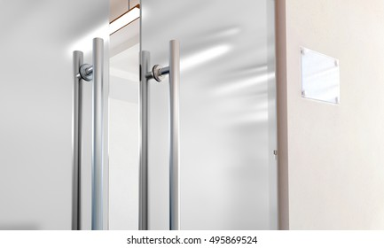 Merveilleux Blank Glass Door With Metal Handles Mockup, 3d Rendering. Office Entrance  With Space Sign