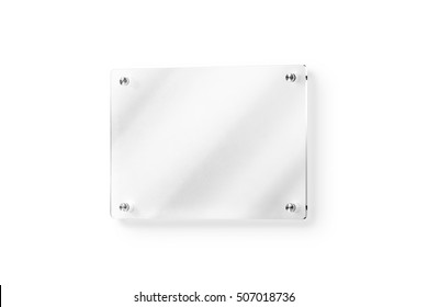 Blank glass name plate wall-mounted mockup, clipping path, 3d rendering. Clear acrylic signboard design mock up. Empty shiny nameplate holder fixed on white wall. Office door glassy signage template.