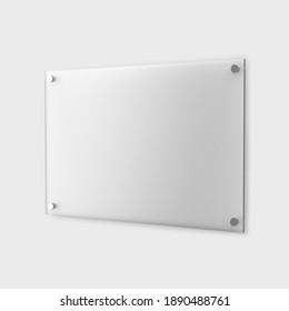 Blank glass nameplate design mockup, 3d rendering.