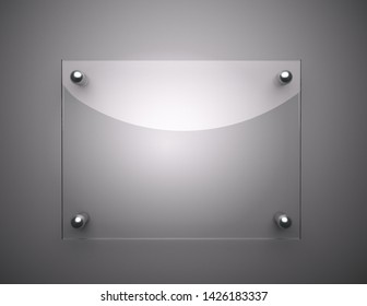 Blank glass plate with copy space , 3d render