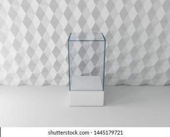 Blank glass showcase box mockup on modern background, 3d rendering