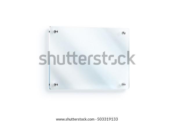 Blank Glass Sign Plate Wallmounted Mockup Stock Illustration 503319133