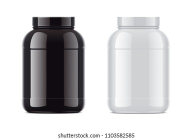 Blank glossy bottles for protein.