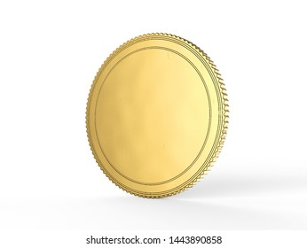 Blank gold coin mock up coin isolated on a white background. Empty golden piece of money mockup stand.3D Illustration