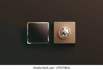 Blank gold enamel pin black mock up, front and back side view, 3d rendering. Empty luxury hard lapel badge mockup. Golden clasp-pin design template. Matal square brooch for logo presentation.