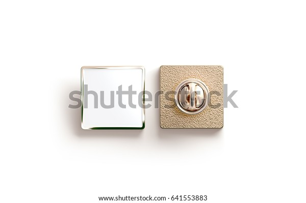 Blank gold enamel pin mock up, front and back side view, 3d rendering. Empty luxury hard lapel badge mockup. Golden clasp-pin design template. Matal square brooch for logo presentation.