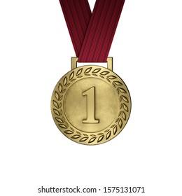 Medalla de oro en blanco aislada en blanco. Renderizado 3d