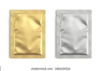 Blank gold and silver metal sachet packet isolated on white. Small pack sachet mockup. 3d rendering