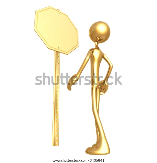 Blank Golden Stop Sign