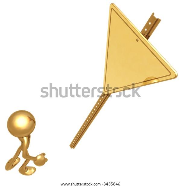 Blank Golden Yield Sign