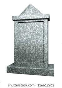 Blank gravestone isolated on white