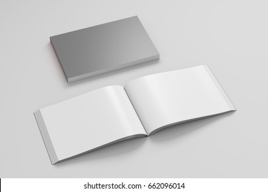 Blank gray landscape soft cover book with glossy paper on white background. Open and closed, isolated with clipping path around each book. 3d illustration