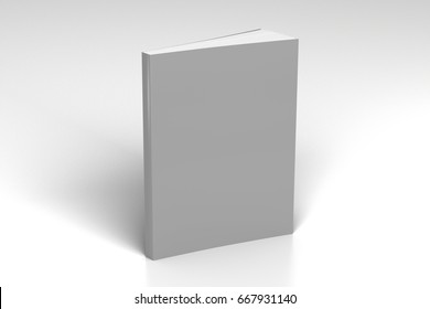Blank gray vertical soft cover book standing on white background. Isolated with clipping path around book. 3d illustration