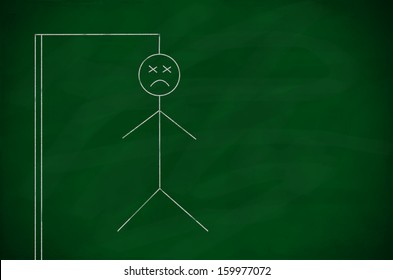 Blank green chalkboard background with drawing of hangman