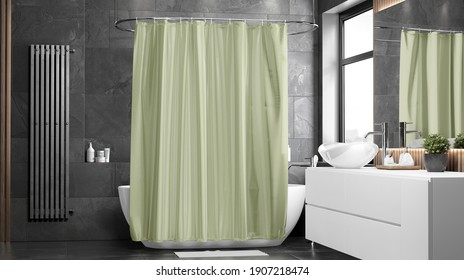 Blank green closed shower curtain mockup, front view, 3d rendering. Empty shutter for bathroom interior mock up. Clear decorative apartment with bathing furniture template.