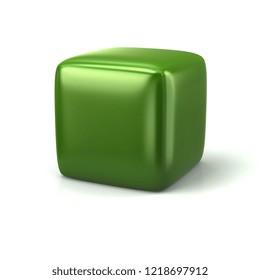 Blank green cube 3d illustration on white background
