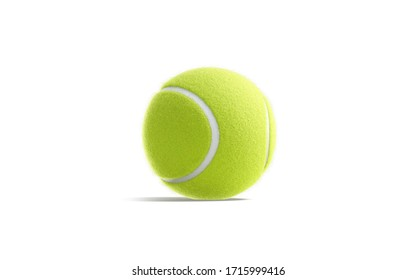 Blank green tennis ball mockup, half-turned view, 3d rendering. Empty fluorescent sporty sphere for competitive or training mock up, isolated. Clear color circle equipment for innings mokcup template.