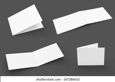 Blank Greeting Cards set isolated on grey with soft shadows. 4 views.