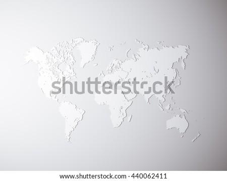 Blank Grey Political World Map 3 D Stock Illustration 440062411 ...