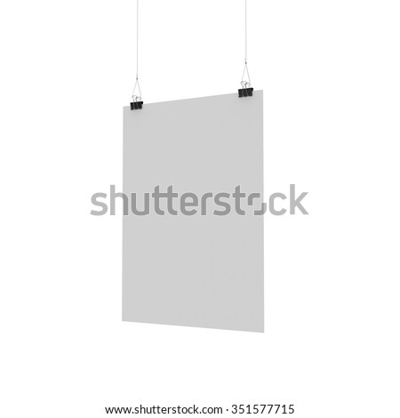 blank hanging poster template paper clip stock illustration