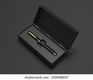Blank Hard Packaging Pen Box with Insert tray. 3d illustration.