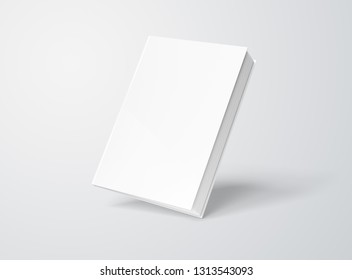 Blank hardcover book mockup floating on white background 3D rendering