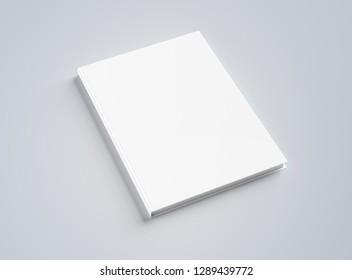 Blank hardcover book mockup on white background 3D rendering