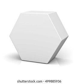 Blank hexagon box isolated on white background with reflection and shadow. 3D rendering.