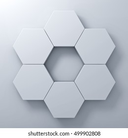 Blank hexagon signboards on white wall background abstract with shadow. 3D rendering.